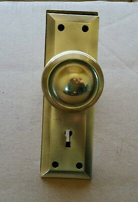 Vintage brass door knobs with spindle and backplates Randolph
