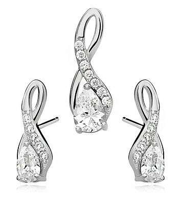 Sterling Silver 925 Set/ Pendant&earrings- White Drop Adorned With White Zircon