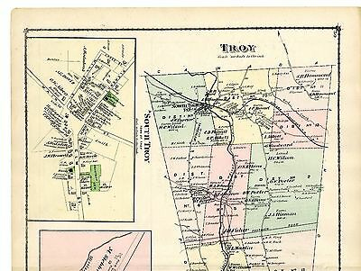 1878 Map of Troy, from Beers' Atlas of Lamoille & Orleans Counties - original