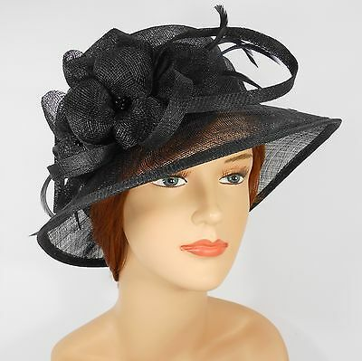New Woman Church Derby Wedding Party Sinamay Dress Hat 7045 Black