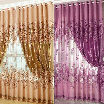 Floral Voile Window Curtain Tulle Sheer Curtain Blackout Living Room Drape Panel