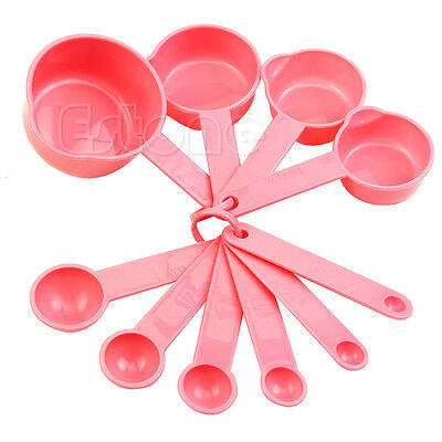 10 X Pink Plastic Measuring Tablespoon Spoons Cups Set Tools For Baking Coffee N