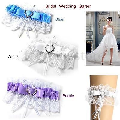 Wedding Hen Party Bride To Be Satin Ribbon Lace Bridal Garter Sparkling Heart