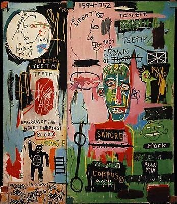 Jean Michel Basquiat Abstract Oil Painting on Canvas decor In Italian 20x24""
