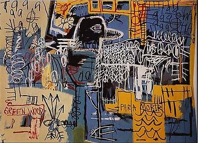 "Jean Michel Basquiat Oil Painting on Canvas abstract wall ""Bird on Money"" 24x30"""