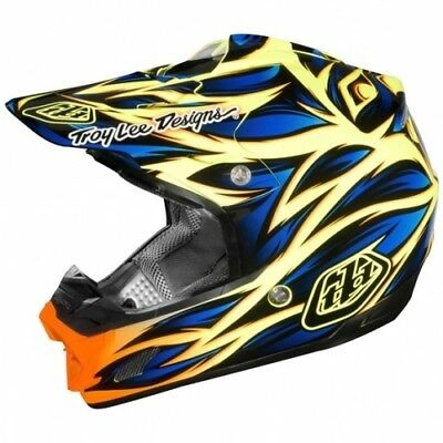 Motorradhelm Troy Lee Designs SE3 Beast blau gelb #1699 Cross Helm
