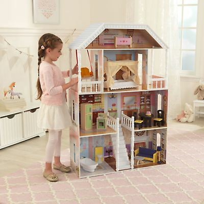 Barbie Size Wooden Dollhouse Furniture Doll S Playhouse Play House 13pc New