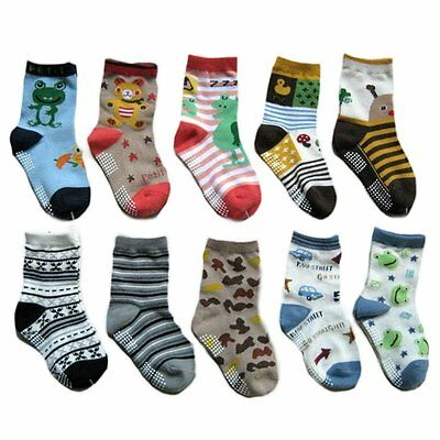 Toddler Baby Cartoon Patterns Cotton Socks Kids Anti-slip Sole Socks WD