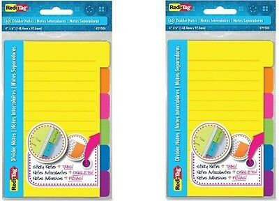 """Redi-Tag 60 Divider Notes w/Tabs, 4 X 6"""" Ruled,  Neon #29500 (2 PACKS)"""