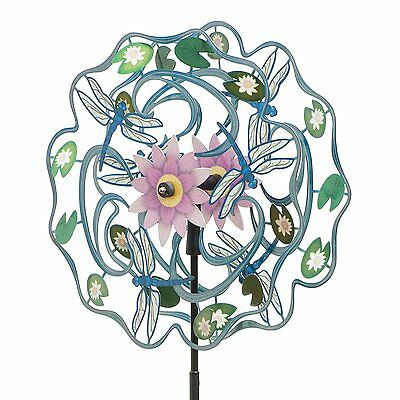 """Iron Stop 16"""" Kinetic Wind Spinner Dragonfly Yard Twister Decor Powder Coated SS"""