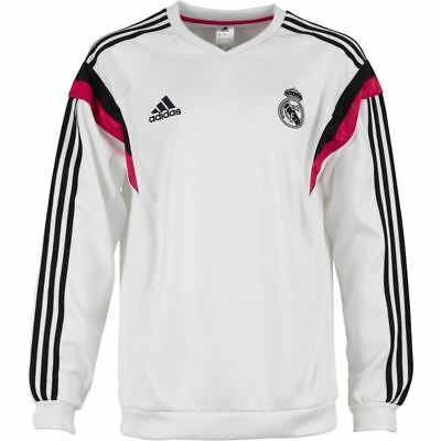 Adidas Real Madrid Sweatshirt Mens White/Blk Football Soccer Pullover Sweat Top