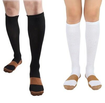 BL/WH 2 Pair Copper Compression Support Socks 20-30 mmHg Graduated Men's Women's