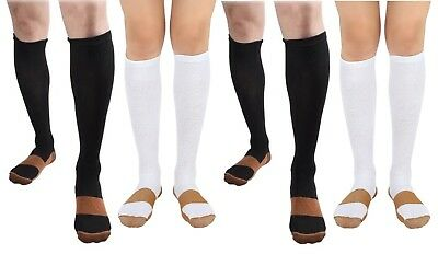 BL/WH 4 Pair Copper Compression Support Socks 20-30 mmHg Graduated Men's Women's