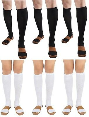 BL/WH 6 Pair Copper Compression Support Socks 20-30 mmHg Graduated Men's Women's