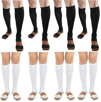 BL/WH 8 Pair Copper Compression Support Socks 20-30 mmHg Graduated Men's Women's