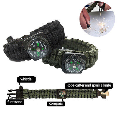 5in1 Paracord Survival Bracelet Compass/Flint/Fire Starter/Whistle Camping Gear