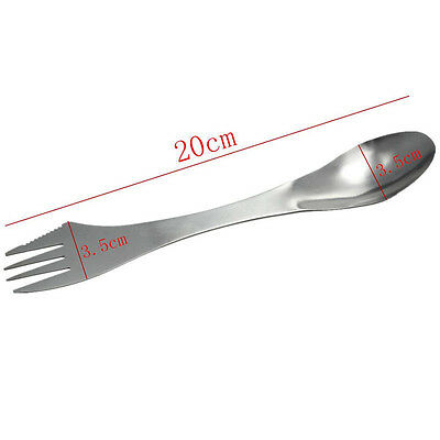 Stainless Steel Spork Outdoor Camping Spoon Fork Portable Cutter Magic Silver