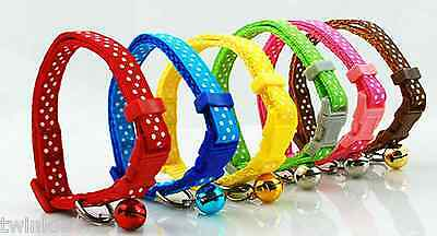 Cute Dotted Adjustable Colored Pet Collars With Bell for Very Small Pets XS