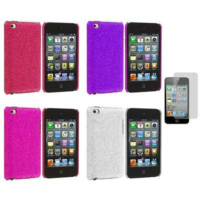Color Bling Glitter Hard Cover Case+Screen Protector for iPod Touch 4th Gen 4G