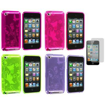 Butterfly Flower TPU Rubber Case+Screen Protector for iPod Touch 4th Gen 4G 4