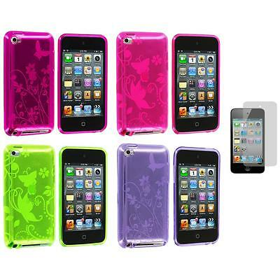 Butterfly Flower TPU Rubber Case+3X LCD Protector for iPod Touch 4th Gen 4G 4