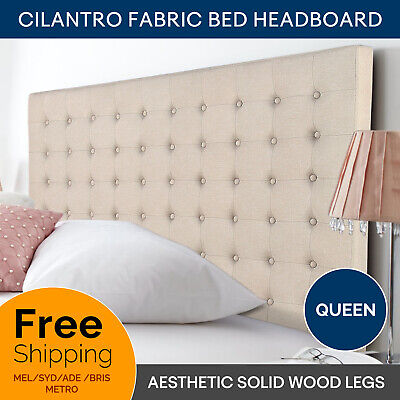 Bed Head Padded Queen Upholstered Fabric Button Studded Beige Headboard Cilantro