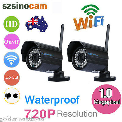 2x 720P HD 1MP Wireless Outdoor IP CCTV Home Security Surveillance Camera Night