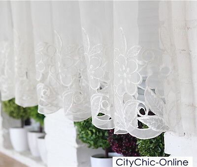 Beautiful Embroideried Flower Crochet Kitchen Window Sheer Cafe Curtain
