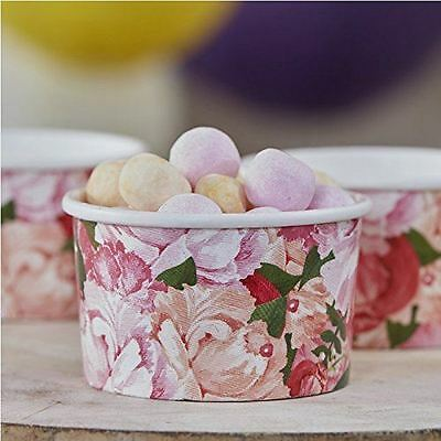 New Wedding Party Ginger Ray Floral Boho Ice Cream Treat Sweet Tubs x 8