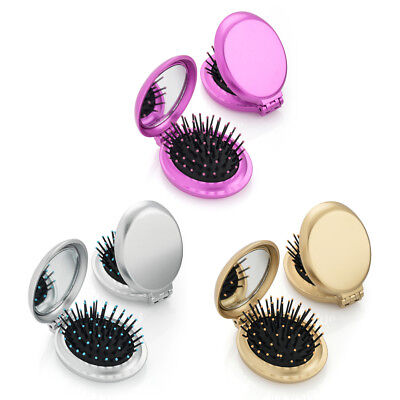 Metallic Oval Folding Brush & Compact Mirror Travel Pocket Size Gold Silver Pink