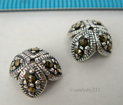 2x OXIDIZED STERLING SILVER MARCASITE STONE BEAD CAP SPACER 8.7mm #1801