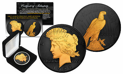 BLACK RUTHENIUM 2-Sided 1922 Original AU PEACE SILVER DOLLAR Coin with 24K Gold