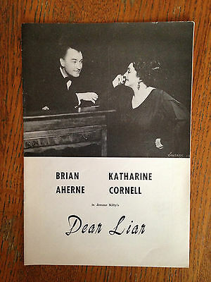 DEAR LIAR WITH BRIAN AHERNE & KATHARINE CORNELL  Theatre Program