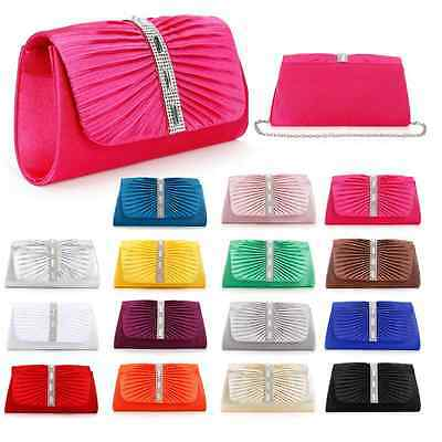 New Satin Evening Bag Pleated Rhinestones Clutch Handbag Wedding Party