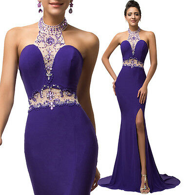 PURPLE Long Split Bridesmaid Prom Cocktail Ball Party Evening Dress Formal Gown
