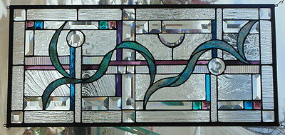 """Stained Glass Window Abstract Hanging 14 X 31"""""""