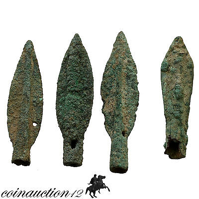 Nice Group Of 4 Ancient Greek Bronze Blades Arrowheads 300 Bc
