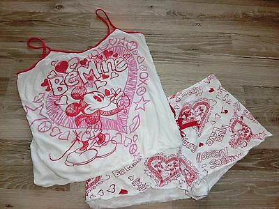 Disney Mickey & Minnie Mouse Xoxo True Love & Kisses 2 Piece Pj Xl Jr  Rare