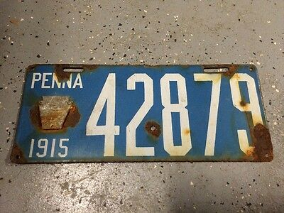 Antique License Plate PA 1915 Pennsylvania Blue Enamel Porcelain 42879