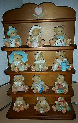 Set of 12 monthly Cherished Teddies - Complete with shelf