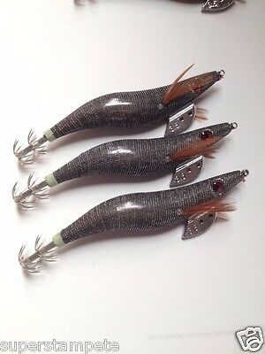 x3  Squid Jig Japanese Clothed Body EGI Squid Jigs #3.5    BLACK   My New  STOCK