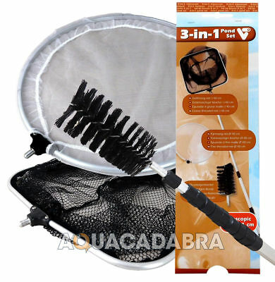VELDA 3-in-1 FISH POND SET TELESCOPIC CATCH NET BLANKET WEED BRUSH ALGAE