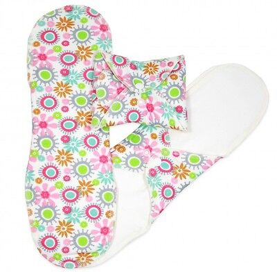 ImseVimse Organic Cotton Cloth Night Pads Sanitary Towels - Flowers - Pack of 3