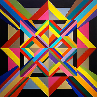 Squares Abstract Colourful Abstract WALL ART CANVAS FRAMED OR POSTER PRINT