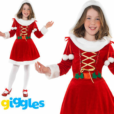 Girls Little Miss Santa Costume Mrs Father Christmas Fancy Dress Outfit Suit