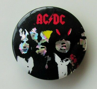 AC/DC HIGHWAY TO HELL VINTAGE METAL BUTTON BADGE FROM THE 1980's  BONN SCOTT