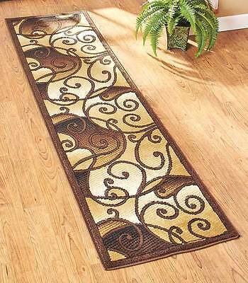 Decorative Extra-Long Floor Runner Tan Scroll Rug Hallway Entryway Home Decor