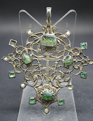 Impressive Tudor Silver Gilt Openwork Cross Pendant With Pearls And Emeralds