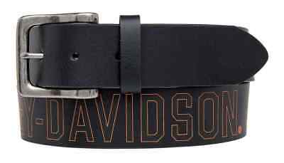 Harley-Davidson Men's Milwaukee Original Belt, Black Leather Belt HDMBT11031-BLK