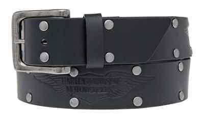 Harley-Davidson Men's Speed Bump Belt, Studded Black Leather Belt HDMBT11033-BLK
